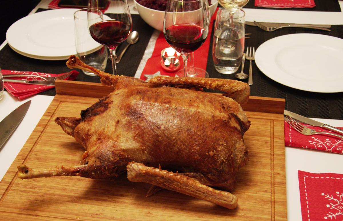 Christmas Roast.Traditional German Roasted Goose