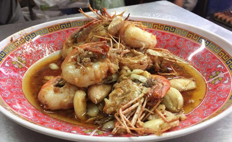 Bangkok carmelized prawns